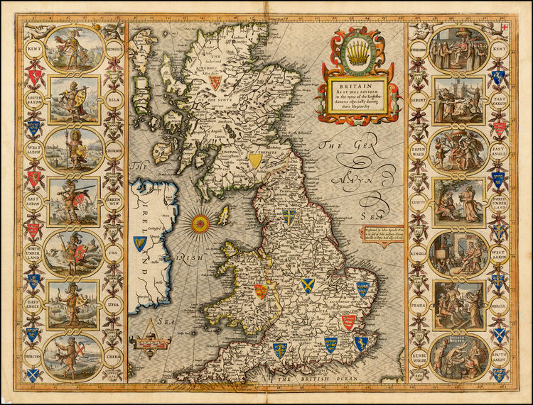 Map of the Heptarchy by John Speed